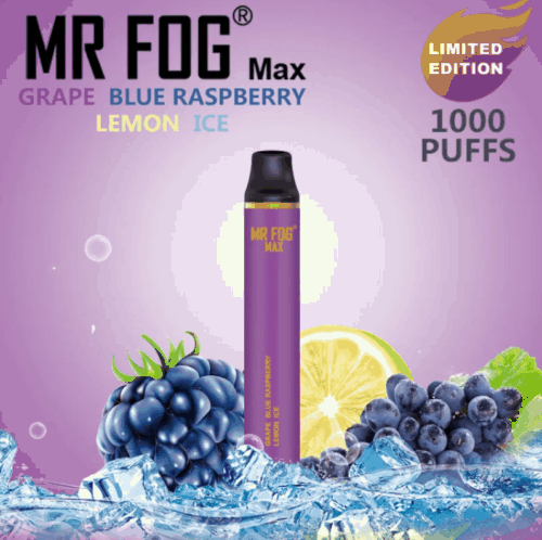 Mr. Fog Max Grape Blue Raspberry Lemon Ice