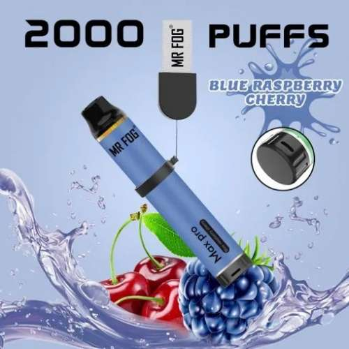 Mr. Fog Max Pro 2000 Puffs Blue Raspberry Cherry