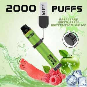 Mr. Fog Max Pro 2000 Puffs Raspberry Green Apple Watermelon on Ice